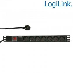 """Logilink PDU7C01 - Regleta de alimentación Rack 19"""" de 7 tomas con interruptor protegida sobretensión"""