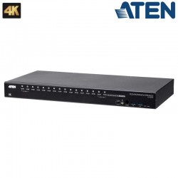 Aten CS19216 - KVM de 16 Puertos USB 3.0 4K DispalyPort con Audio y Hub USB 3.0 para Rack 19'
