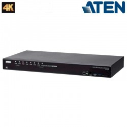 Aten CS19208 - KVM de 8 Puertos USB 3.0 4K DispalyPort con Audio y Hub USB 3.0 para Rack 19''