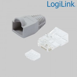 Logilink MP0023 - Conector RJ45 Macho UTP Cat6, Capuchón Gris, Guia (100 pcs)