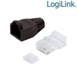 Logilink MP0024 - Conector RJ45 Macho UTP Cat6, Capuchón Negro, Guia (100 pcs)