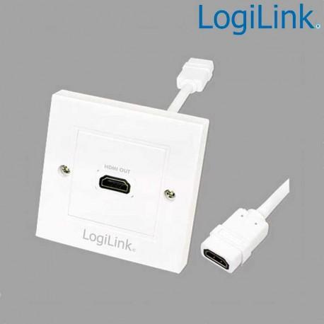 Logilink AH0014 - Placa de Pared de 1 conector HDMI Hembra (86 x 86)