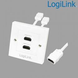 Placa de Pared de 2 conectores HDMI Hembra (86 x 86) Logilink AH0015