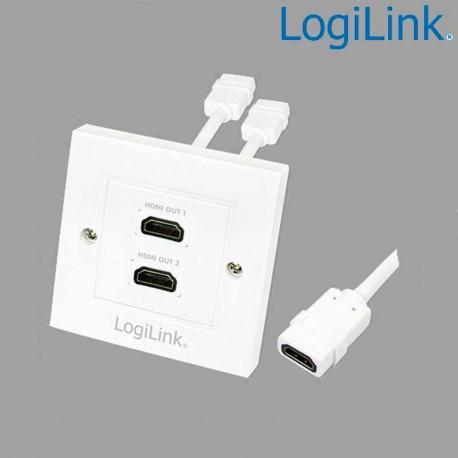 Logilink AH0015 - Placa de Pared de 2 conectores HDMI Hembra (86 x 86)