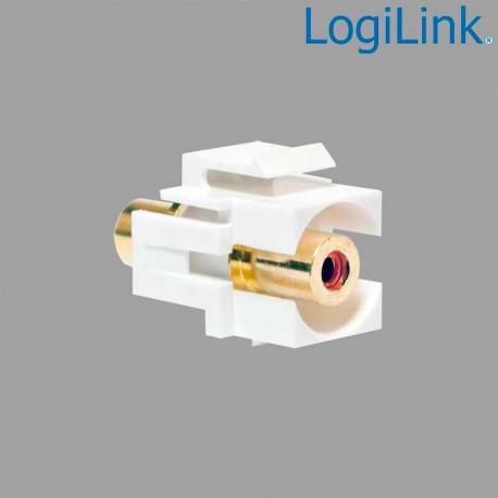 Logilink NK002 - Acoplador Keystone en linea RCA Hembra-Hembra Rojo | Marlex Conexion