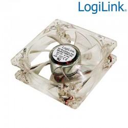 Ventilador 12v 80x80x25, 4 leds color azul Logilink FAN102