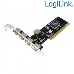 Logilink PC0028 - Tarjeta PCI USB 2.0 de 4 puertos Externo y 1 Interno