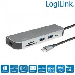 HUB USB-C Multifunción, HDMI, card reader SD y MIcro SD Logilink UA0343