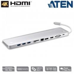 Aten UH3234 - Docking Station Multi Puertos USB-C con pasarela de Alimentacion