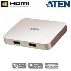 Aten UH3235 -Docking Station Multi Puertos USB-C 4K con pasarela de Alimentacion