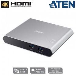 Aten UC3310 - Docking Switch USB- C Gen 1 de 2 puertos con pasarela de alimentación