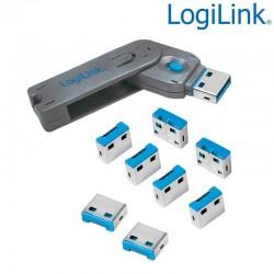 Logilink AU0045 - Bloqueo de puertos USB (1 llave + 8 cerraduras USB)