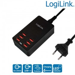 Cargador de mesa USB, 6 Puertos, 32 W Logilink PA0139