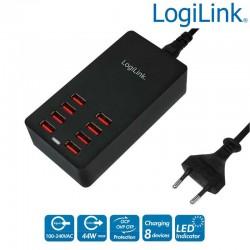 Estación de Carga USB, 8 Puertos, 44 W Logilink PA0140