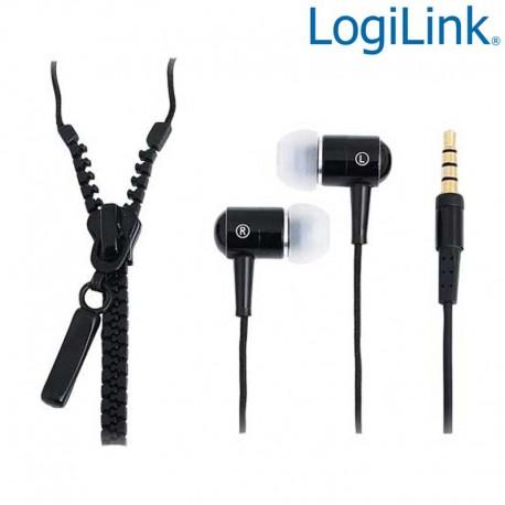 """Logilink HS0021 - Auriculares """"Zipper"""" con micro, tipo Cremallera, Negro"""