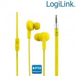 Logilink HS0043 - Auriculares in-ear Resistent al Agua(IPX6)Amarillo | Marlex Conexion