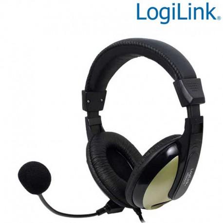 Logilink HS0011A - Auriculares Estereo con microfono, alta comodidad | Marlex Conexion