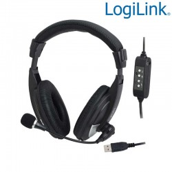 Auriculares HQ estereo con Microfono, versión USB Logilink HS0019