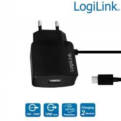 Cargador USB con cable Micro USB mas puerto USB, 10 W, Negro Logilink PA0146