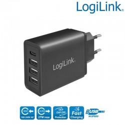 Cargador USB de Pared 1 USB-C y 3 USB-A , 27W, Negro Logilink PA0221