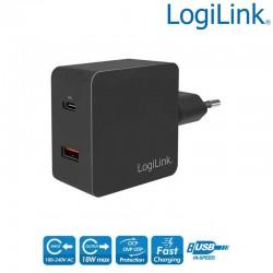 Cargador USB de Pared 1 USB-C PD y 1 USB-A QC, 18W, Negro Logilink PA0220