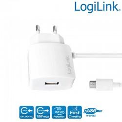 Cargador USB con cable Micro USB mas puerto USB, 10 W, Blanco Logilink PA0146W