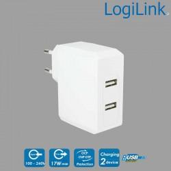 Cargador USB de pared de 2 puertos, 17W, Blanco Logilink PA0094