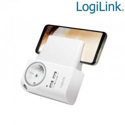 Cargador USB de 2 puertos con enchufe libre con Soporte para Teléfono Logilink PA0165
