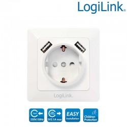 Enchufe 220V y 2 Tomas de corriente USB Logilink PA0162