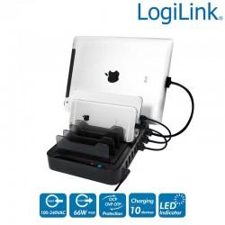 Estación de carga USB, 10 Puertos, 66 W Logilink PA0141