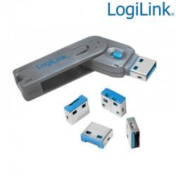 Logilink AU0043 - Bloqueo de puertos USB (1 llave + 4 cerraduras USB)