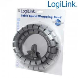 Logilink KAB0014 - Cubre Cables Spiral Wrapp, 1500 x 28mm, Plateado | Marlex Conexion