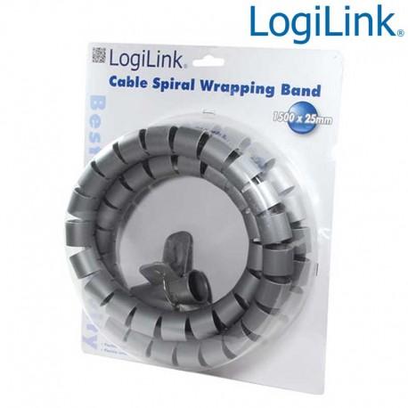 Logilink KAB0014 - Cubre Cables Spiral Wrapp, 1500 x 28mm, Plateado   Marlex Conexion
