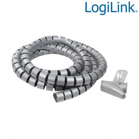 Logilink KAB0013 - Cubre Cables Spiral Wrapp, 2500 x 25mm, Plateado| Marlex Conexion