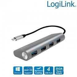 Hub USB-C 3.1 de 4 puertos USB 3.0 tipo A, Aluminio, Gris Logilink UA0309