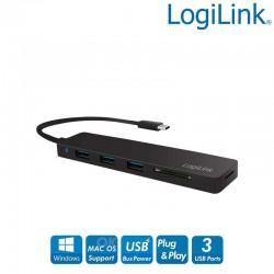 Hub USB-C Ultra plano de 3 puertos USB 3.0 tipo A con lector de tarjetas, Negro Logilink UA0312