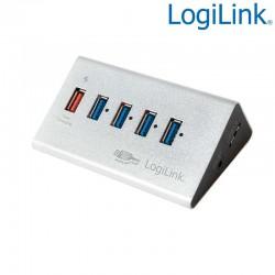 Hub USB 3.0 de 5 puertos (1 de carga rapida), Aluminio Logilink UA0227