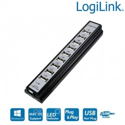Hub USB 2.0 de 10 Puertos, Negro Logilink UA0096