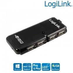 Hub USB 2.0 de 4 Puertos, Negro Logilink UH0001A