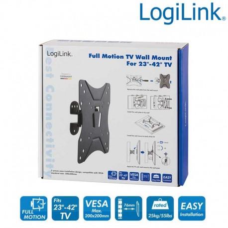 Logilink BP0006 - Soporte TV de Pared, inclinación -7.5º/+7.5º, Giratorio -25º/+25º, 23-42'', 25 kg