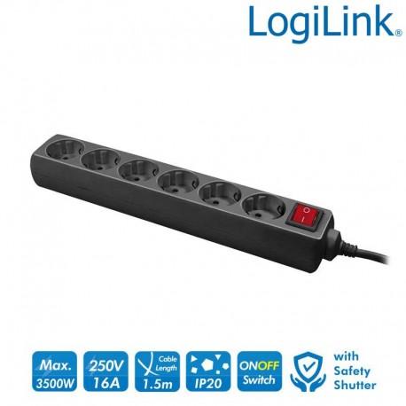 Logilink LPS202B - Regleta de alimentación de 6 tomas con Interruptor, Negro | Marlex Conexion