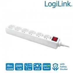 Logilink LPS202 - Regleta de alimentación de 6 tomas con Interruptor Blanco | Marlex Conexion