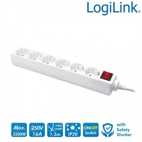 Logilink LPS202 - Regleta de alimentación de 6 tomas con Interruptor Blanco   Marlex Conexion