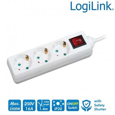 Logilink LPS206 - Regleta de alimentación de 3 tomas con Interruptor Blanco | Marlex Conexion